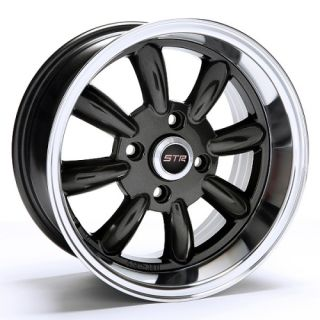 15 inch STR503B Blk Mach Rims and Tires 4x100 Accord Civic Fit Prelude