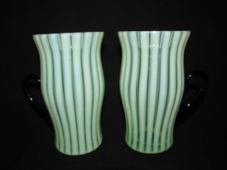 Antique Fenton Glass Rib Optic 222 Green Opalescent Lemonade, Iced Tea