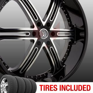 Set of 4 New 24 Versante 226 5x115 15 Wheels Tires Rims Black