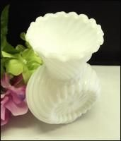 This gorgeous Imperial milk glass vase is an old design from the 1950s