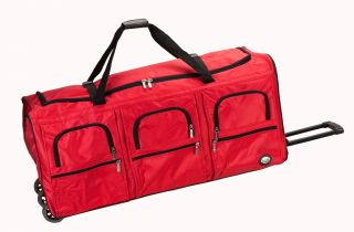New 40 XL Black Red Rolling Wheeled Duffel Bag Luggage Sports Gear