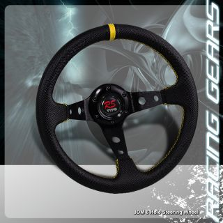 320mm Yellow Stitch Black Yellow PVC Leather Steering Wheel Prelude