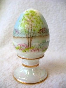 Fenton Art Glass Egg Spring Scene Trees Opalescent Hand Painted Signed