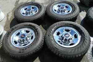 99 10 Chevy GMC 16 Chrome Steel Wheels Rims Tires Set