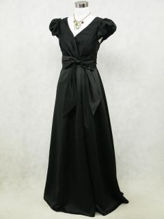 Satin Black Long Prom Ball Gown Wedding/Evening Bridesmaid Dress UK 16