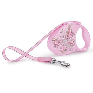 Flexi Glam Retractable Dog Leash   Pink   Butterfly