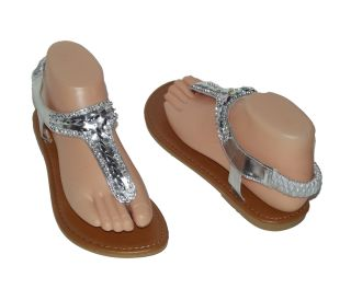 Brand New Silver Rhinestone Beads Jewel Thong Flat Women Sandals Shoes
