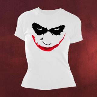 Batman Dark Knight Joker Face Girlie Shirt weiß, teuflisches Grinsen