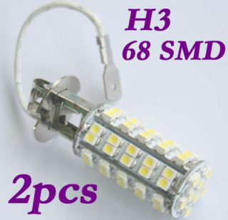 H3 68 SMD 3528 LED White Car Fog Head Light Lamp Bulb 12V