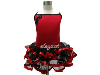 Red Flower Girls Fairy Dress Ballet Leotard Tutu Party Skirt 7 9Y Size