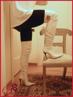 Really soft white leather high heel boots made in Italy ICONE