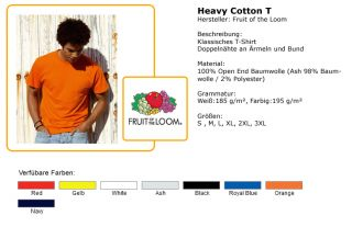 Heavy T Shirt Shirt Fruit of the Loom S M L XL XXL