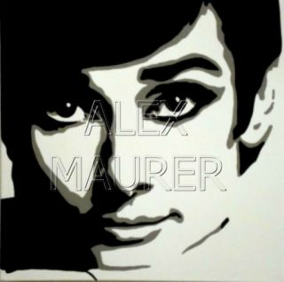 POP ART Gemälde / painting AUDREY HEPBURN   Breakfast at Tiffanys