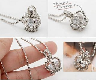 Gk4516 New Fashion Jewelry Womens Crystal Crown Necklace Chain