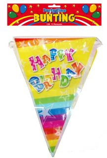 HAPPY BIRTHDAY BUNTING Banner Pennants Childrens Party X30 437
