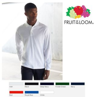 Fruit of the Loom Poloshirt Polo langarm Longsleeve Shirt Langarmpolo