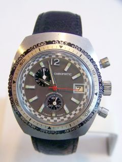 CHROMATIC Mens Winding Chronograph Watch 70s WORLD GMT Function