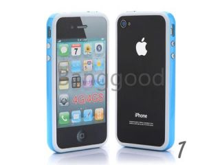 6x TPU Bumper Frame Silicone Skin Case W/ Side Button For iPhone 4 4S