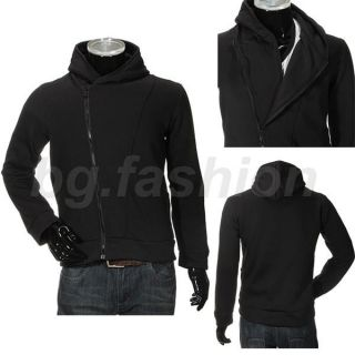 Mens Casual Stylish Oblique Front Zipper Hoodies Tops Jackets Coats