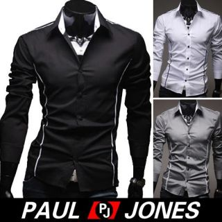 2013 Neu Mens Casual Slim Fit Long Sleeve Luxury Shirt T shirts Tee
