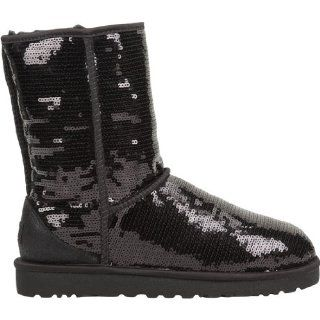 Classic Short Sparkle Boot   Black Shoes