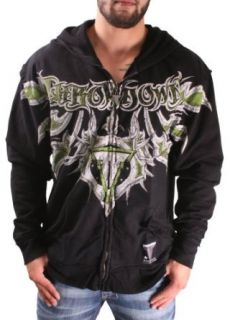 Throwdown by Affliction Mens Demon Zip Hood Shirt, Black