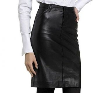 BGSD Womens Classic Lambskin Leather Pencil Skirt