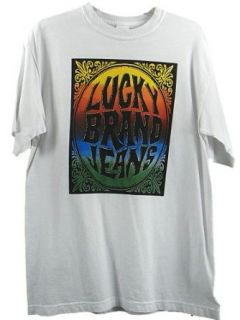 Mens Lucky Brand Jeans T Shirt Tee Logo White S Clothing