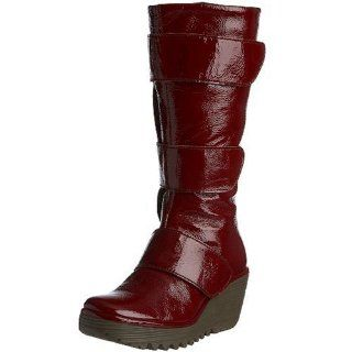 FLY London Womens Yalta Boot,Red Patent,40 EU (US Womens 9 M) Shoes