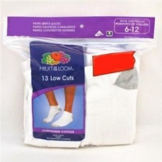 Fruit of the Loom Mens Low Cut Socks White 13 Pairs