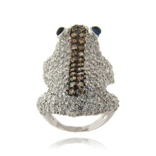 Gem Jolie Silverplated Champagne, White and Blue Cubic Zirconia Frog