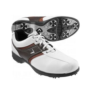 Callaway Mens Chev Comfort Saddle White/ Tan/ Black Golf Shoes