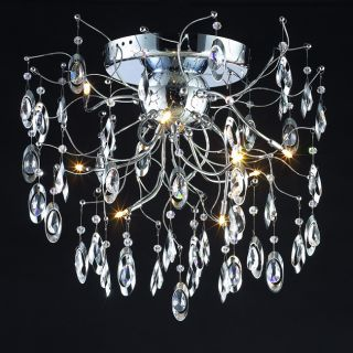 Modern Design 9 light 26 inch Polished Chrome Crystal Flush Mount