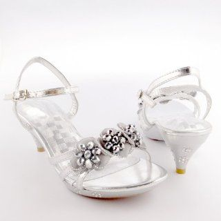 Pageant High Heel Flower Sandals W/ Beaded Detail Silver , 4 Shoes