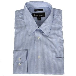 Nicole Miller Mens Narrow Stripe Dress Shirt
