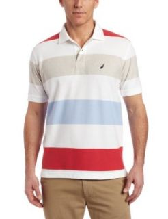 Nautica Mens Striped Short Sleeve Polo Shirt, Bright