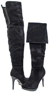 69 Black Faux Suede Women Over The Knee Boots, 7.5 M US Shoes