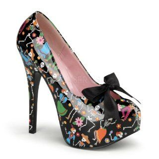Platform Pump W/ Satin Bow Tie Black Patent (Muertos Print) Shoes