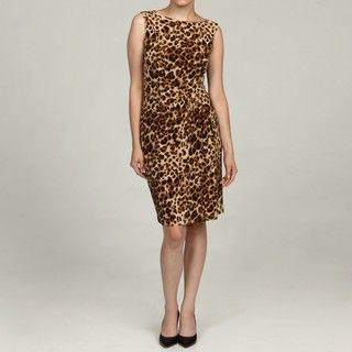 Jones New York Womens Brown Animal Print Dress