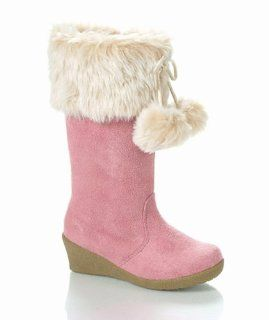 Pink Pom pom faux Fur Toddler Girl Wedge Boots, 4 Shoes