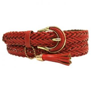Red Braided Leather Belt W/Gold Buckle & Tassel Size