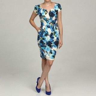 Eliza J Womens Blue Floral Print Dress