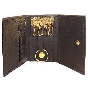 MW312BK Genuine Leather Key Chain Holder Black Wallet
