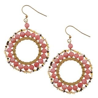 Helene Goldplated Simulated Pink Coral Beaded Earrings