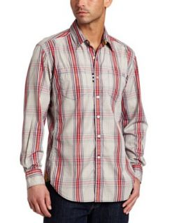 Robert Graham Mens Strike Long Sleeve Shirt, Red, Small