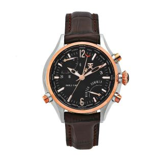 Timex Mens World Time Brown Leather Strap Black Dial Watch