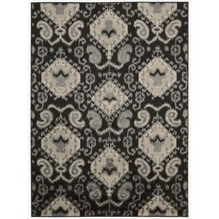 Kindred Ikat Print Black Area Rug (79 x 10)