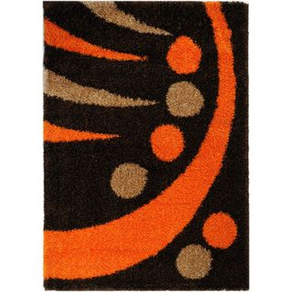 Brown and Orange Contemporary Shag Area Rug (5 x 7)