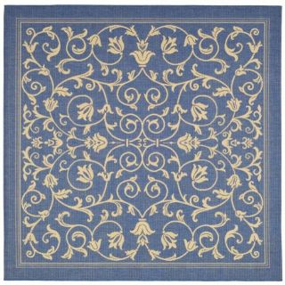 Indoor/ Outdoor Resorts Blue/ Natural Rug (710 Square)