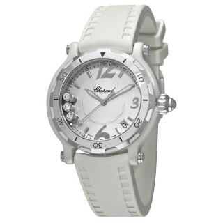 Chopard Womens Happy Sport Round White Rubber Strap Watch
